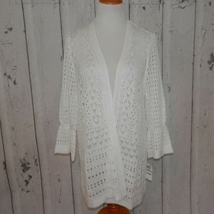 NEW Charter Club White 1X Knit Open Front Sweater